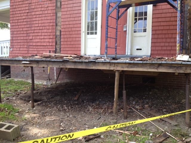 "July 14, 2014: ""Coming down, note the light underpinnings of porch deck"